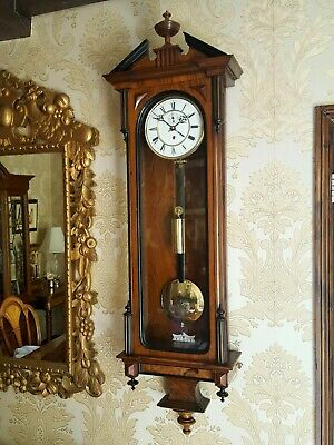 Antique 1 weight Austrian Vienna regulator wall Clock. Walnut case
