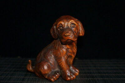 Collectable Decorative Handwork Boxwood Carved Dog Auspicious Beautiful Statue