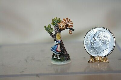Miniature Dollhouse Olszewski Bronze Alice in Wonderland w Cheshire Cat Figurine