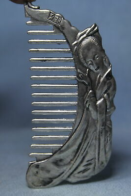 Collectable Handwork Miao Silver Carved Beautiful Woman Precious Exquisite Comb