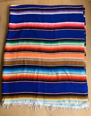 "Vintage Mexican Blanket Rug Serape Bright Striped Colors with Fringe 58""X 74"""