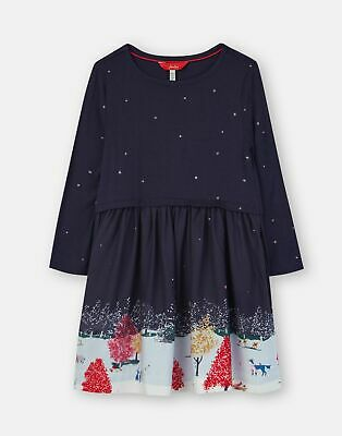 Joules Girls Merrie Woven Mix Border Dress - NAVY WILDLIFE BORDER Size 9yr-10yr