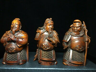 Decorative Handwork Boxwood Carved Taoyuan Three Knot Righteousness Noble Statue