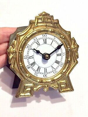 Superb Rare Antique Gilt Brass In-Built Pendulum Clock ft. Enamel Dial