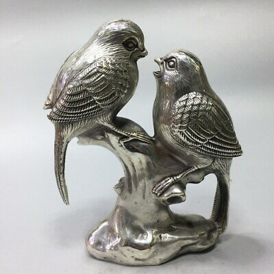 Collectable Ancient Miao Silver Carved Pair Of Birds Auspicious Beautiful Statue