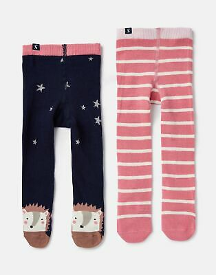 Joules Baby Girls Anikins 2 Pack Tights - NAVY PINK HEDGEHOG Size 12m-24m