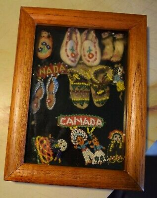 Vintage MINIATURE Native American Indian Beaded pieces LOT framed,         s2