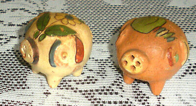 Clay Pig Salt & Pepper Set - Made In Mexico - No Corks - exc. condition