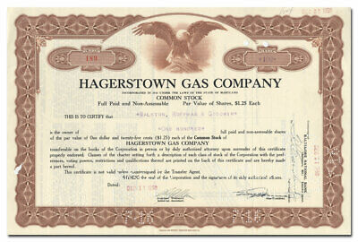 Hagerstown Gas Company Stock Certificate (Maryland)