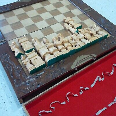 Vintage Hand Carved Chinese Chess Set