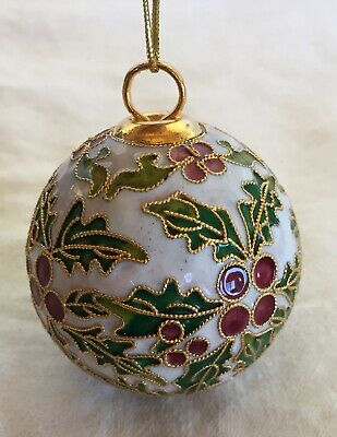 Cloisonne Christmas Ornament Holly Berries Nice