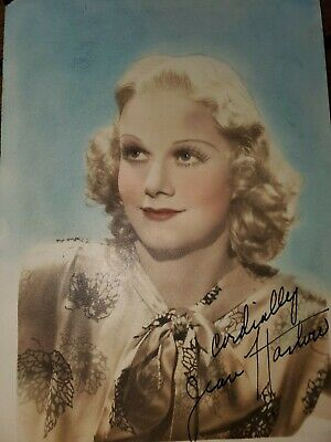 Jean Harlow Hand Tinted Autograph 5 x 7 Photo