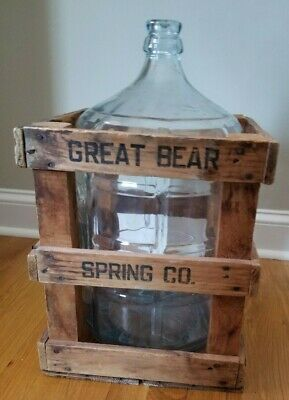 Vintage Great Bear Spring Co~5 Gal Glass Water Bottle w/Wooden Crate-PICK UP