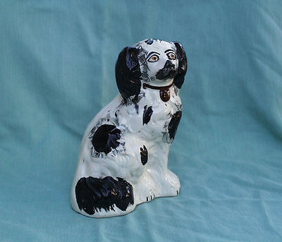 Antique Porcelain English Black & White King Charles Spaniel