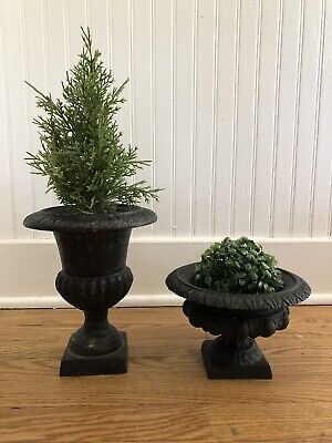 Two Antique Vintage Cast Iron Planters Urns, for indoors or out