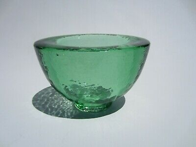 Signed Excellent Condition Green Fire And Light Recycled Glass Vase Bowl