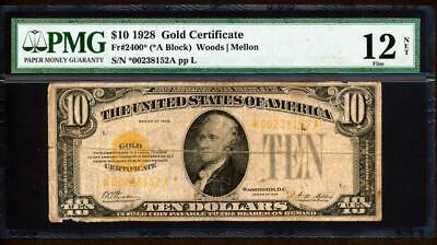 "Fr.2400* 1928 $10 GOLD CERTIFICATE ""STAR"" FRN PMG 12 SUPER RARE COLLECTIBLE"