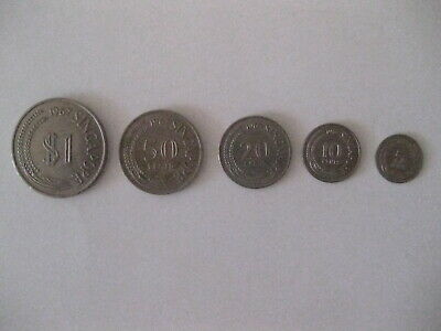 Singapore 1967 Coin Set $1 .50 .20 .10 .05 ( Lot of 5 )