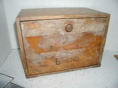 Vintage primitive Wood Bread Box Country Farm House Kitchen Decor crafting