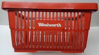 Vintage Woolworth Red Plastic Shopping Basket - Used.