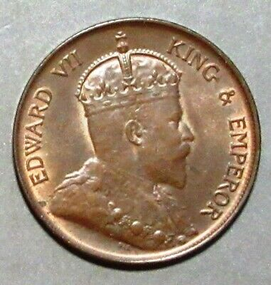Hong Kong 1905H One Cent~ Attractive Brown Unc.