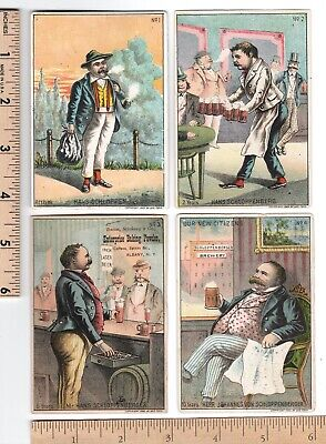 GERMAN IMMIGRANT Set of 4 Trade Cards Various Advertising Arrival to 10 Years