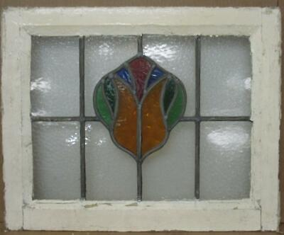 "OLD ENGLISH LEADED STAINED GLASS WINDOW Colorful Abstract Design 23.25"" x 19"""