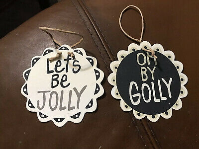 Lot Od 2 Christmas Ornaments Black And White
