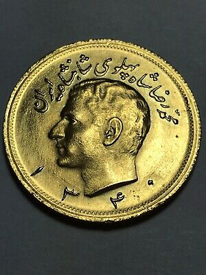 MIDDLE EAST, LAND OF LION & SUN, 2 1/2 P, SH 1340 GOLD COIN, 20.1 grams