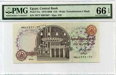 Egypt 10 Pounds Nd 1978-2000 P 51 Gem Unc Pmg 66 Epq High