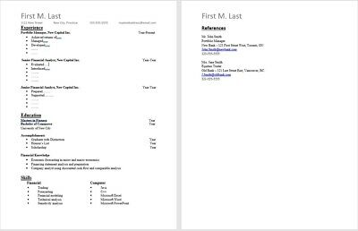 Single Page RESUME TEMPLATE - 1 HR Delivery (fill-in the blanks Microsoft Word)