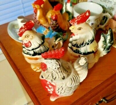 Multi-Ceramic Rooster Figurines
