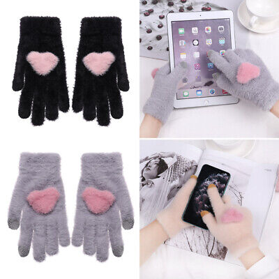 Wool Winter Cute Thicken Warm Full Finger Knitted Gloves Touch Screen Mittens