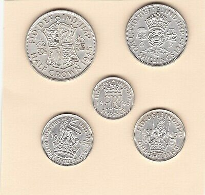 Set  of  5   King  George  VI   1945   Silver (50%)  Coins