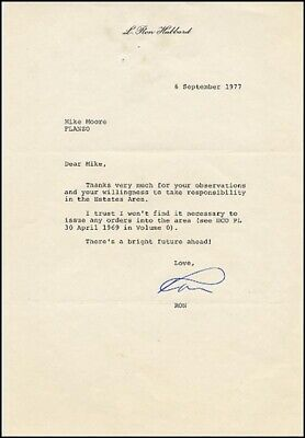 L. Ron Hubbard - Typed Letter Signed 09/06/1977