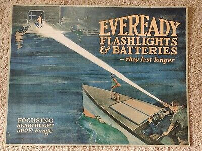 1930s Eveready Flashlights And Batteries Sign