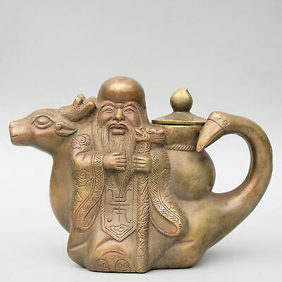 Collectable China Old Bronze Hand-Carved Immortal Ride Deer Auspicious Tea Pot