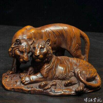 Collectable China Old Boxwood Hand-Carved Fierce Tiger Delicate Decorate Statue