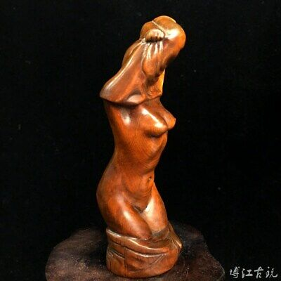 Collect China Old Boxwood Hand-Carved Naked Belle Delicate Unique Decor Statue
