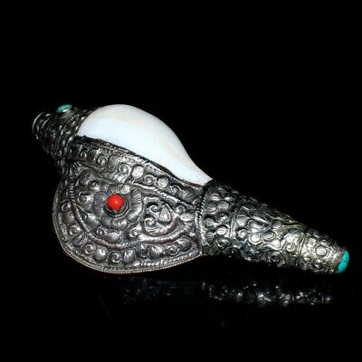 Old Tibet Silver Armour Conch Inlay Turquoise Carve Delicate Handicraft Statue