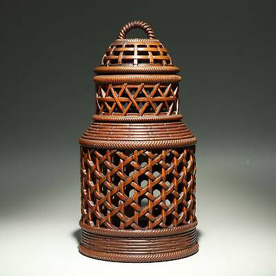 Collectable China Old Boxwood Hand-Carved Bamboo Weaving Delicate Storage Jar