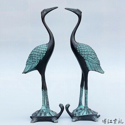 Collectable China Old Bronze Hand-Carved Crane Luck A Pair Delicate Decor Statue