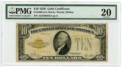 1928 Fr.2400 $10 United States Gold Certificate Note - PMG Very Fine 20