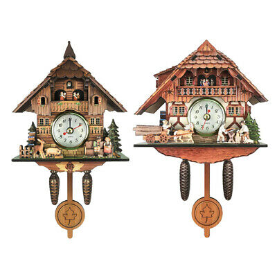 Set of 2 Retro Design Wooden Frame Cuckoo Clock Wall Clock Kids Room Decor