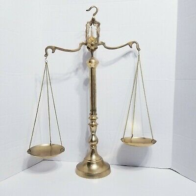 """Vintage Brass Weight Scale 23"""" Antique Heavy Statue Balance Justice Lawyer Decor"""