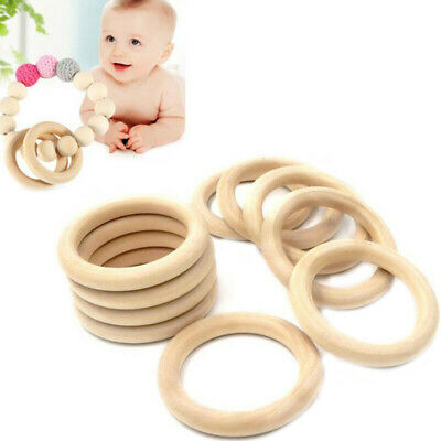 20pcs Baby Newborn Wooden Teether Rings Teething Chewing Ring DIY Craft Toy Gift