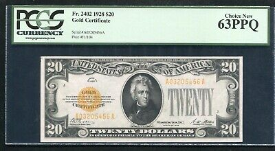 Fr. 2402 1928 $20 Twenty Dollars Gold Certificate Pcgs Uncirculated-63Ppq