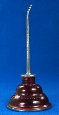Rare Vintage Eagle Oil Can Hand Oil Dropper Transparant Red Plastic Oiler NICE!