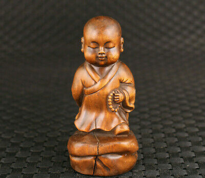Blessing Chinese old boxwood monk buddha Figure statue collect Netsuke part flaw