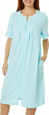 Jasmine Rose Womens Floral Embroidered Zip Up Robe